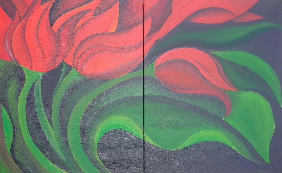 Diptych Painting - Tulip Diptych by Taiche Acrylic Art