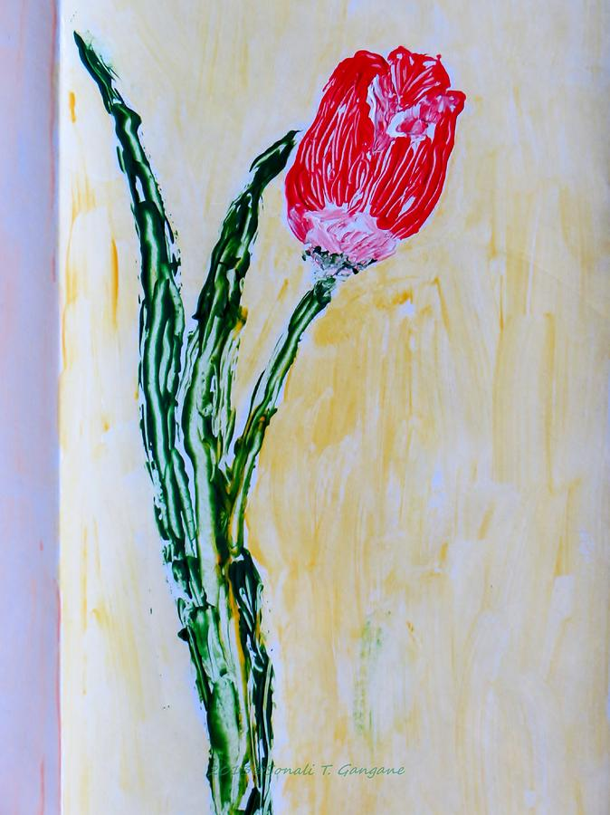 Valentine Painting - Tulip For You by Sonali Gangane