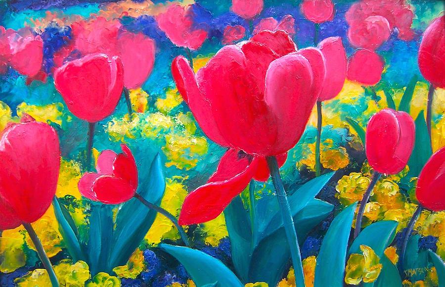 Tulips Painting - Tulip Garden by Jan Matson