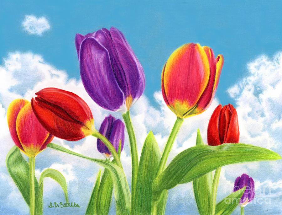 Tulip Garden Painting By Sarah Batalka