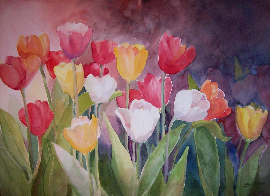 Tulips Painting - Tulip Garden by Sue Kemp