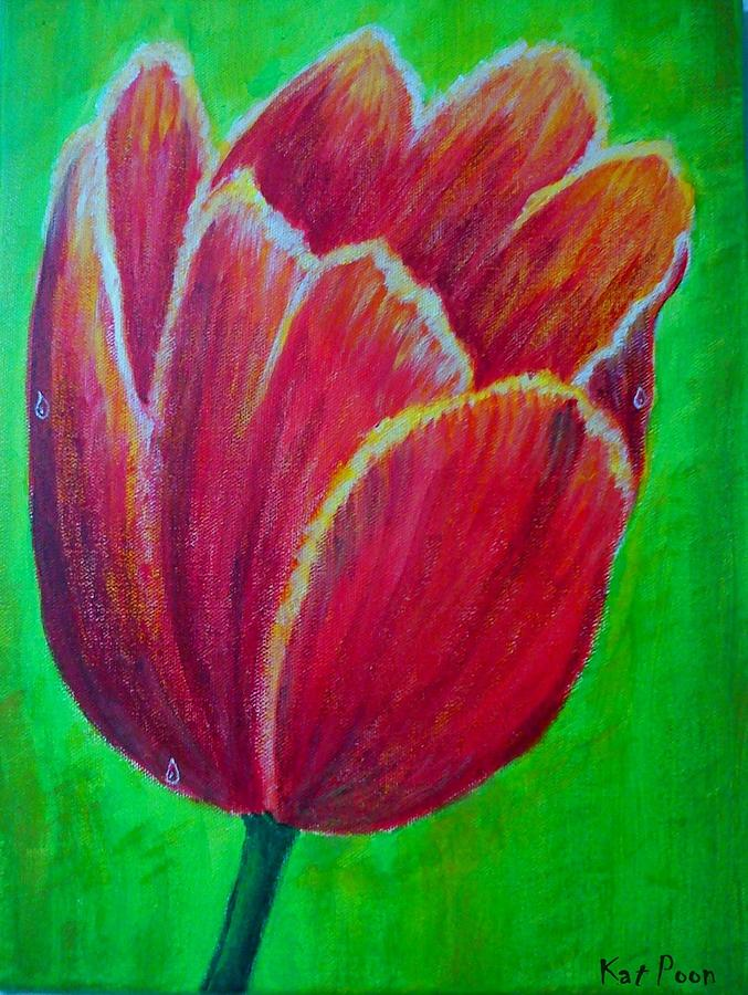 Tulip Painting - Tulip In Bloom by Kat Poon
