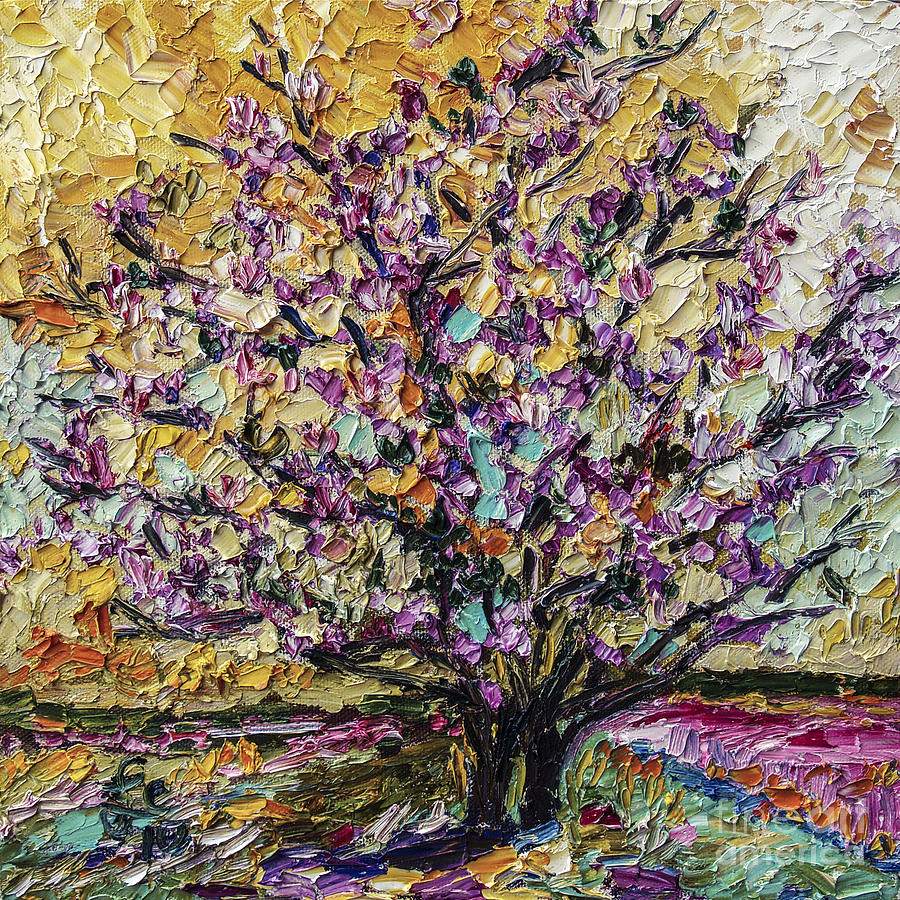 Tulip Magnolia Tree Painting by Ginette Callaway