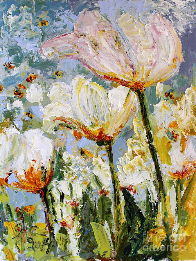 Tulips and Bees in the Window Painting by Ginette Callaway