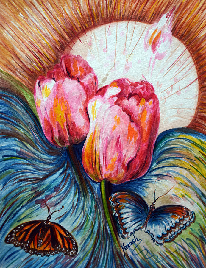 Tulips Painting - Tulips And Butterflies by Harsh Malik