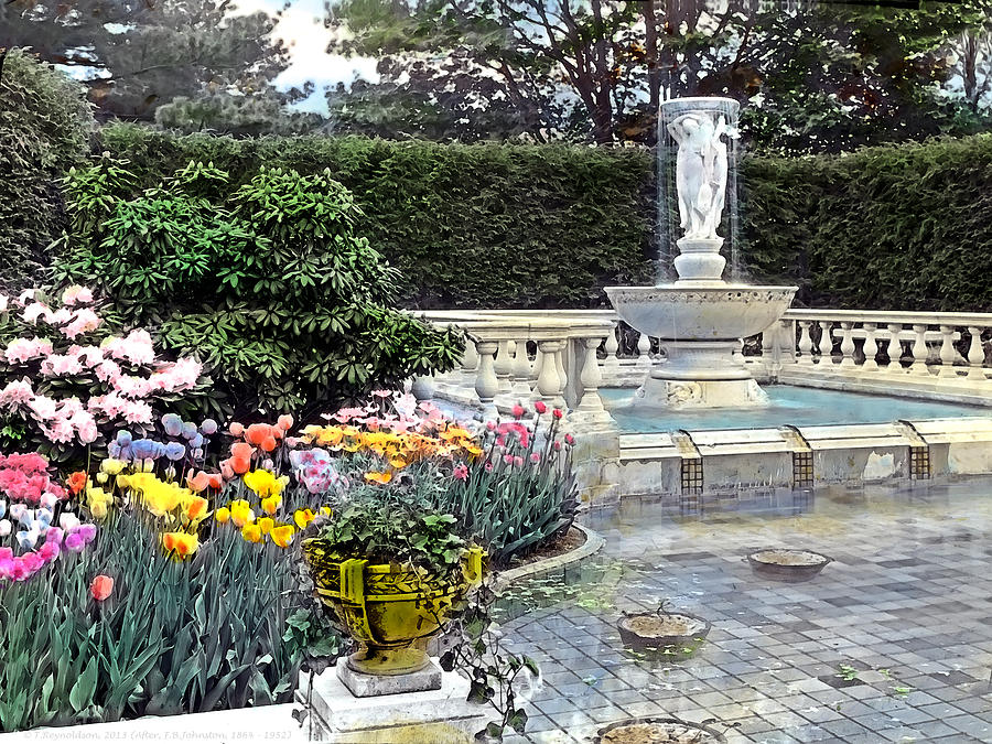 Tranquil Photograph - Tulips And Fountain by Terry Reynoldson