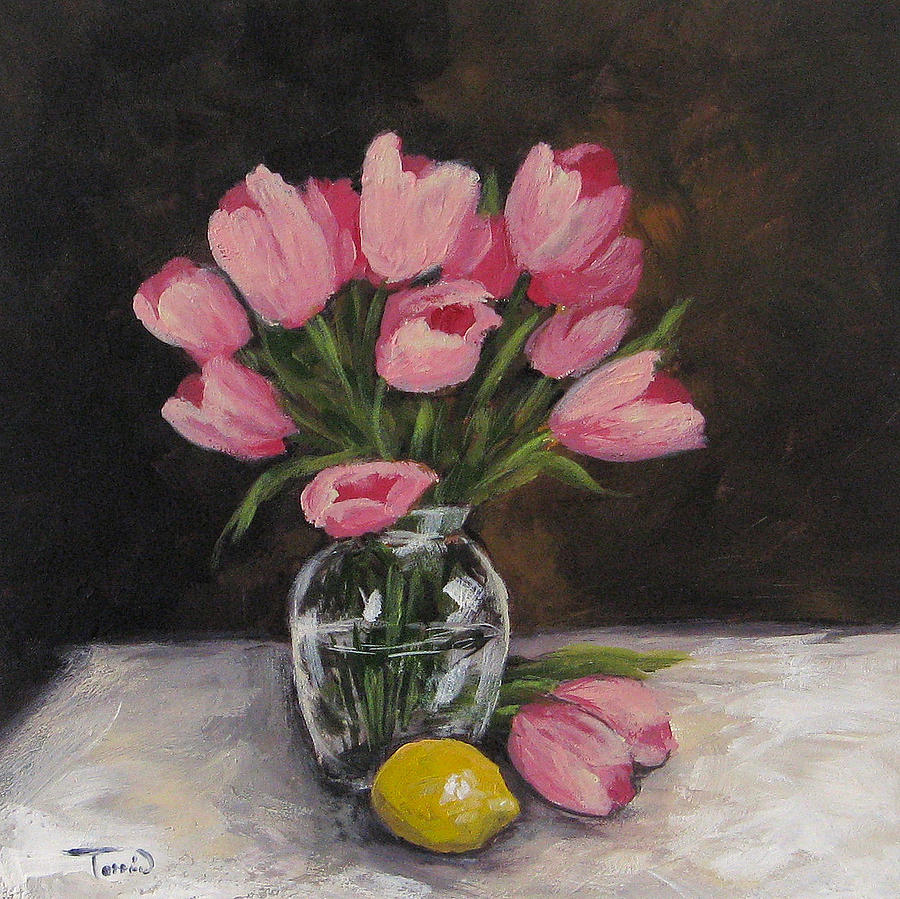 Tulip Painting - Tulips And Lemon by Torrie Smiley
