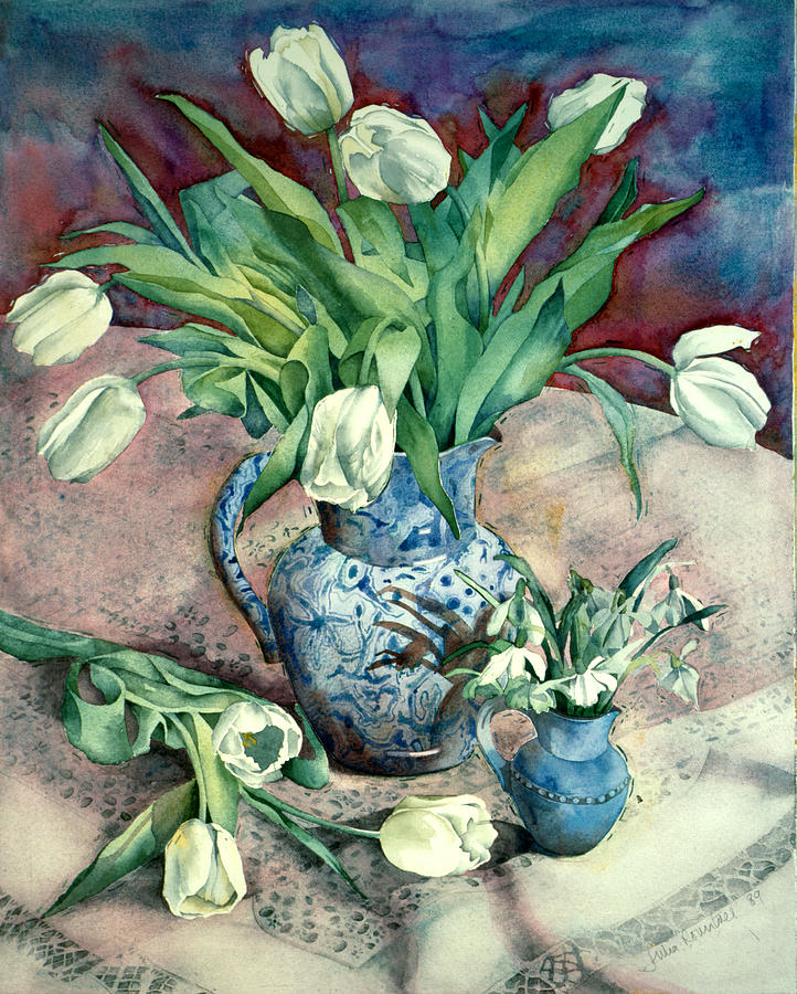 Illustration Photograph - Tulips And Snowdrops by Julia Rowntree