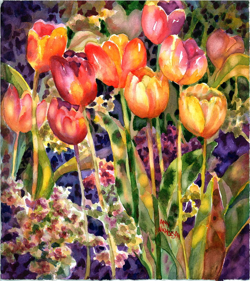 Bright Floral Painting - Tulips by Ann  Nicholson