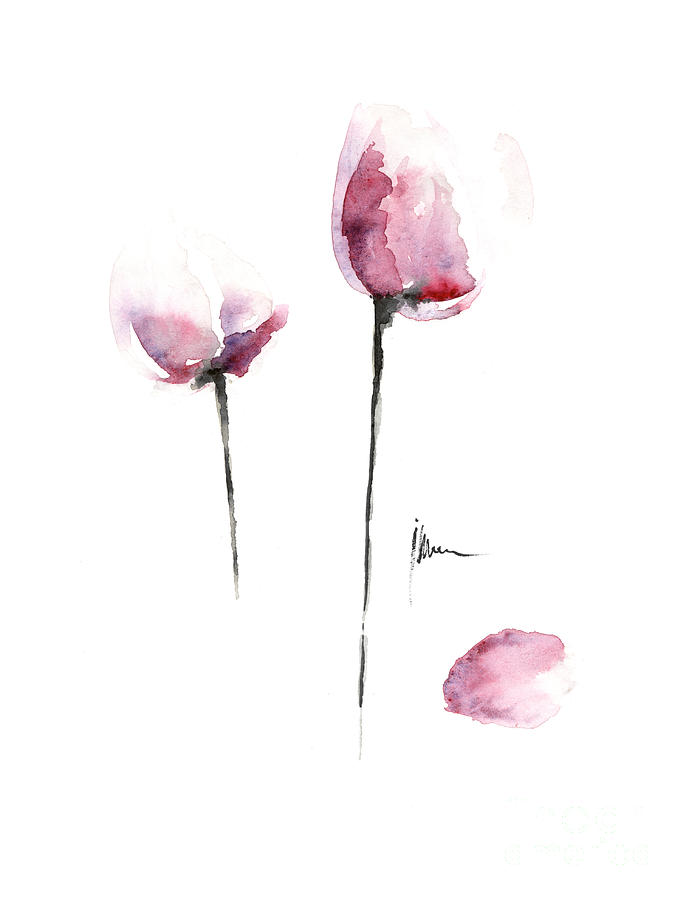 Tulips Painting - Tulips art print watercolor painting by Joanna Szmerdt