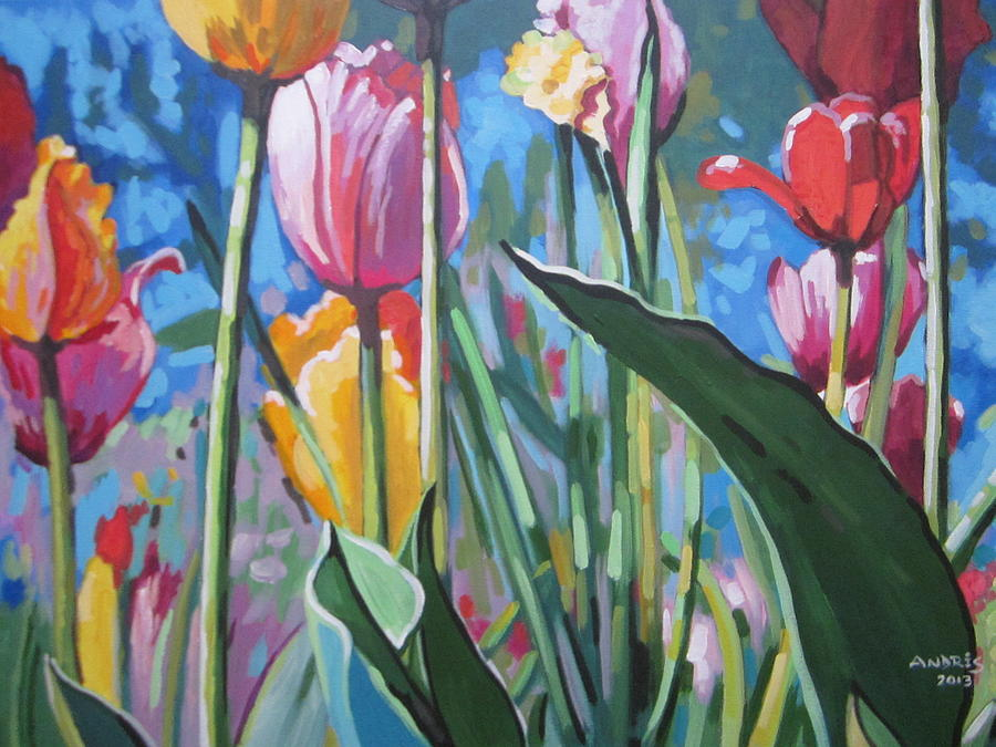 Tulips Painting - Tulips For You by Andrei Attila Mezei