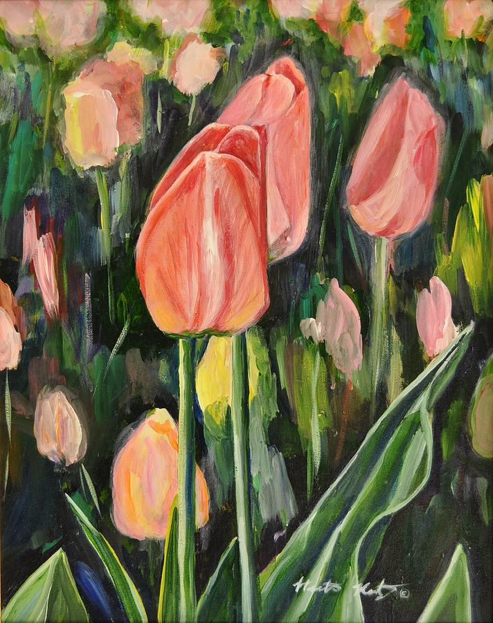 Tulip Painting - Tulips by Heather Kertzer