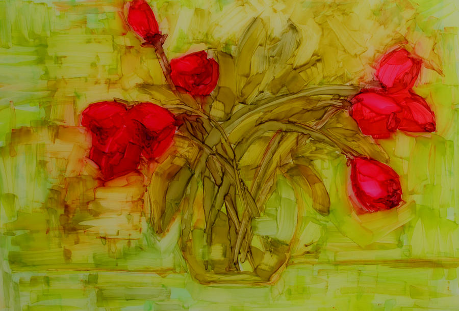 Art Painting - Tulips In A Glass Vase by Patricia Awapara