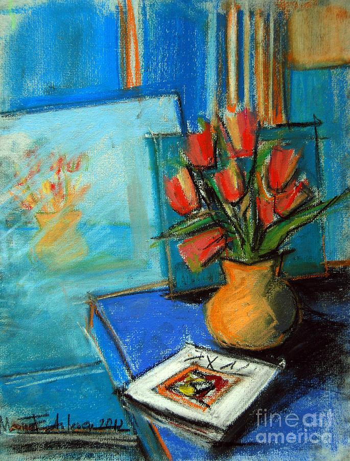 Mona Edulescu Painting - Tulips In The Mirror by Mona Edulesco