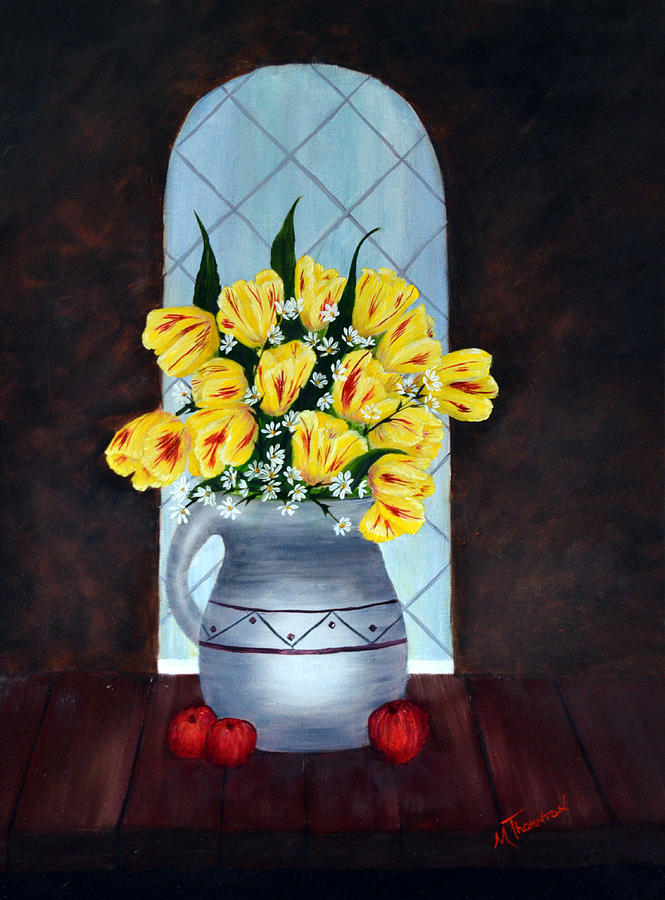 Tulips Painting - Tulips In The Window by Marsha Thornton