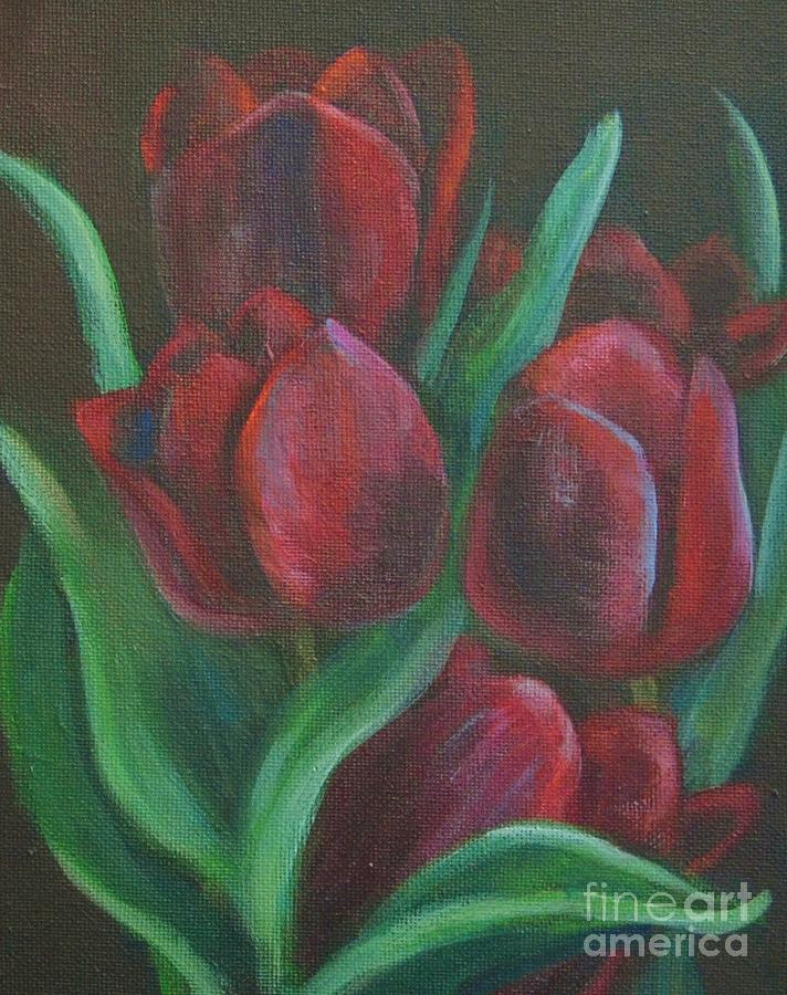 Red Tulips Painting - Tulips by Jana Baker