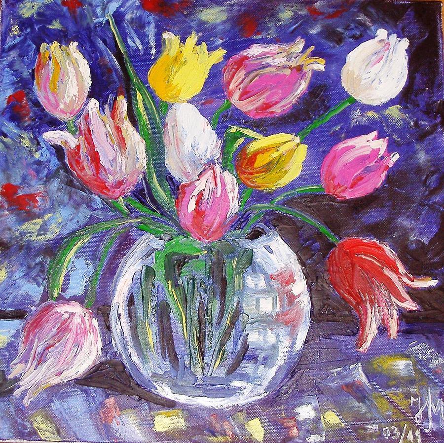 Tulips Painting - Tulips by Nina Mitkova