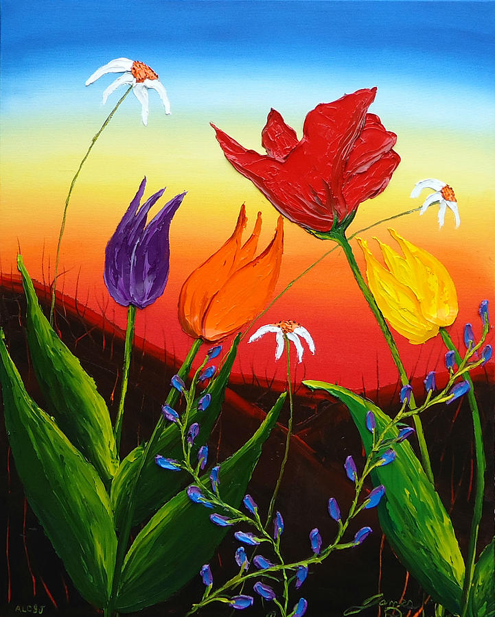 Tulips Of Woodburn Oregon Painting by Portland Art Creations