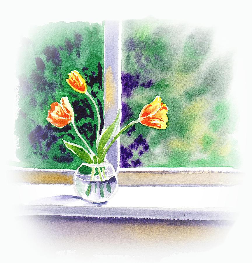 Tulip Painting - Tulips On The Window by Irina Sztukowski
