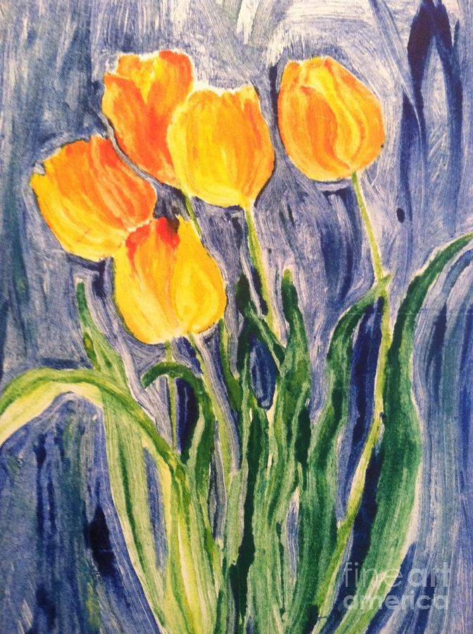 Owl Painting - Tulips by Sherry Harradence