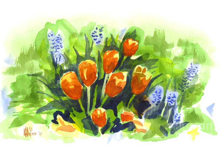 Red Painting - Tulips With Blue Grape Hyacinths Explosion by Kip DeVore