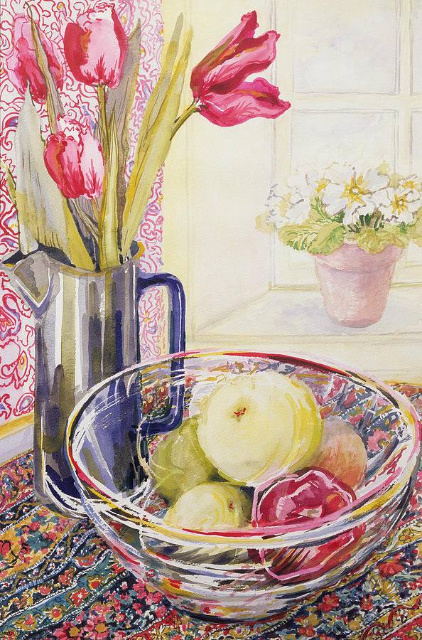 Watercolor Painting - Tulips With Fruit In A Glass Bowl  by Joan Thewsey
