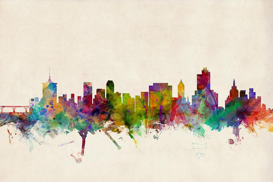 Watercolour Digital Art - Tulsa Oklahoma Skyline by Michael Tompsett