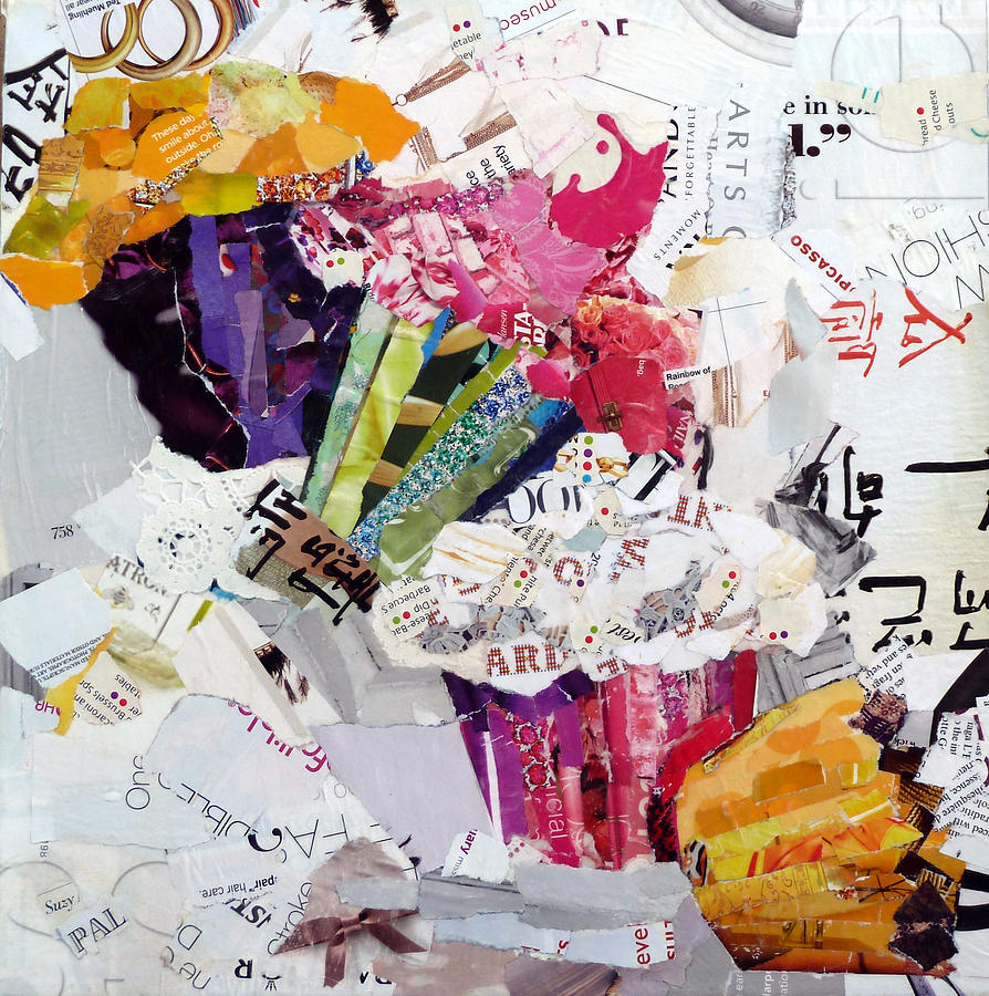 Torn Paper Collage Painting - Tumbling Cupcakes by Suzy Pal Powell