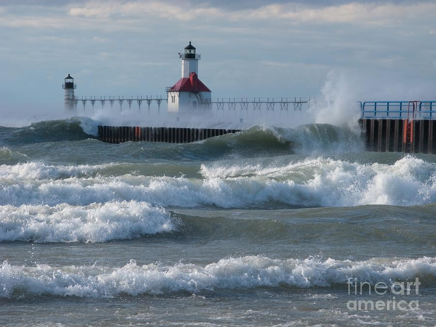 Wind Photograph - Tumultuous Lake by Ann Horn