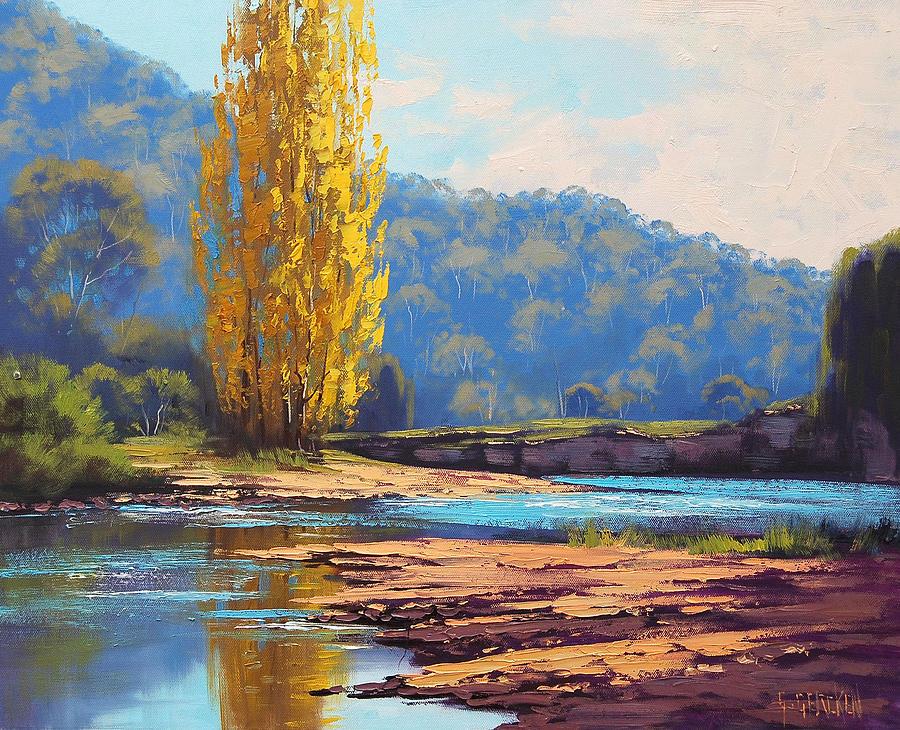River Painting - Tumut River Poplar by Graham Gercken