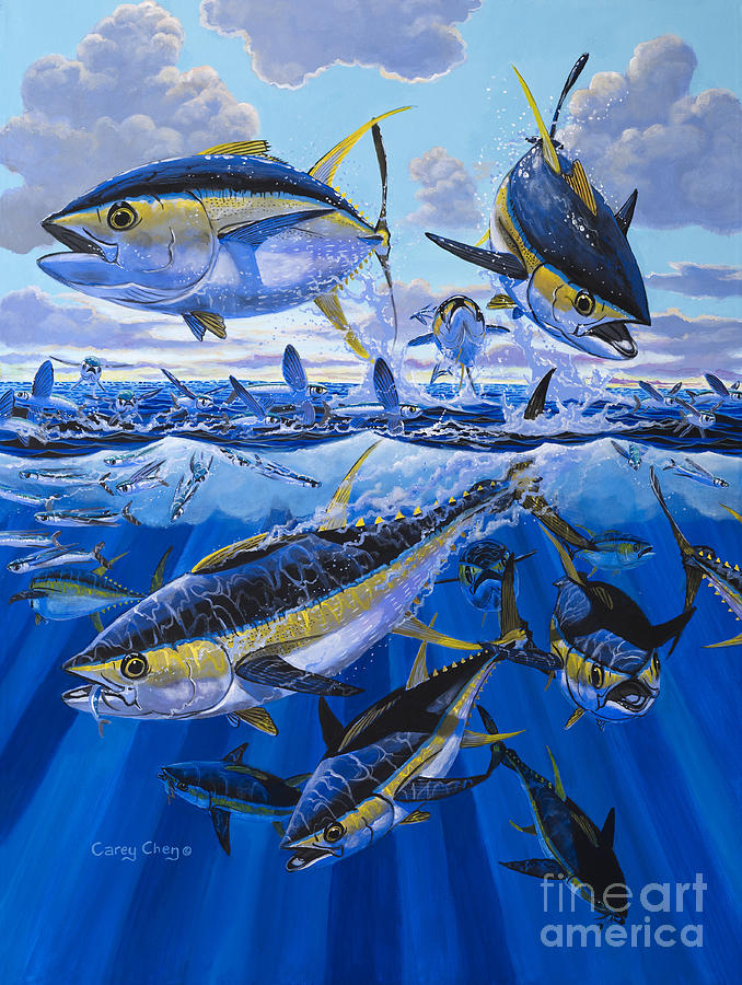 Tuna Painting - Tuna Rampage Off0018 by Carey Chen