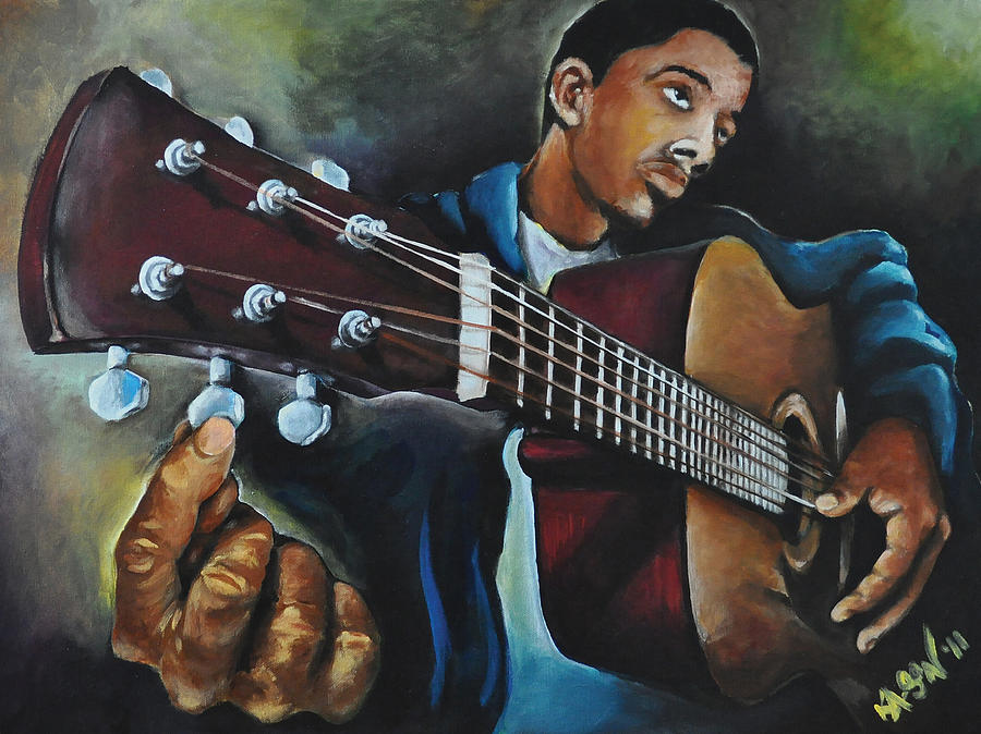Guitar Painting - Tune Up by Ka-Son Reeves
