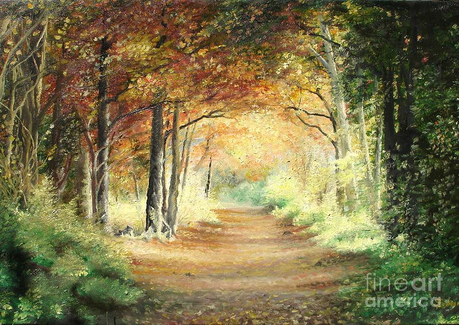 Tunnel Painting - Tunnel In Wood by Sorin Apostolescu