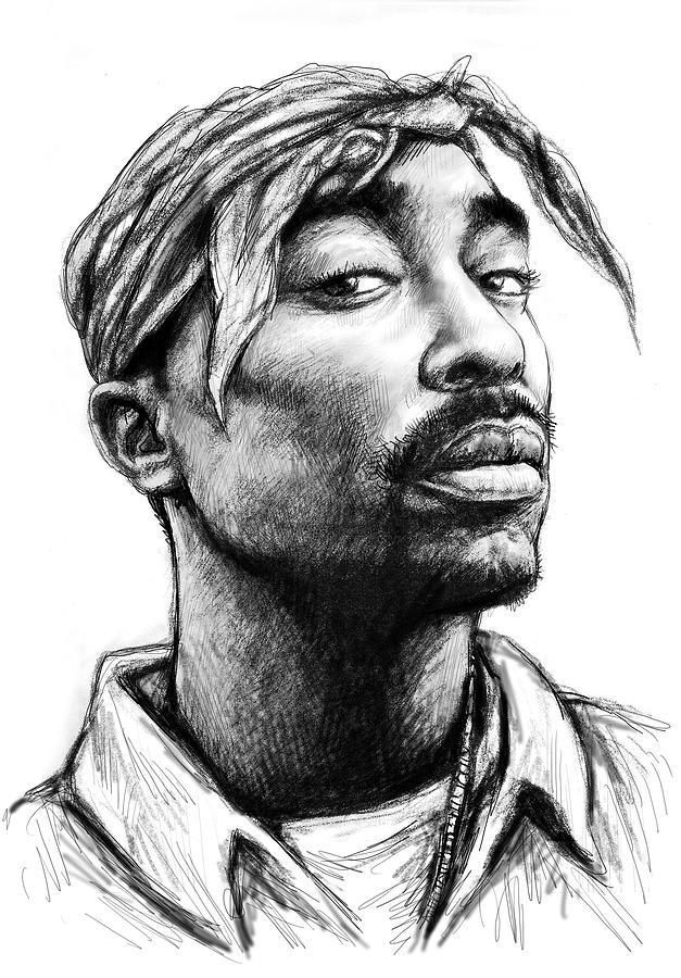 Portraits painting tupac shakur art drawing sketch portrait by kim wang