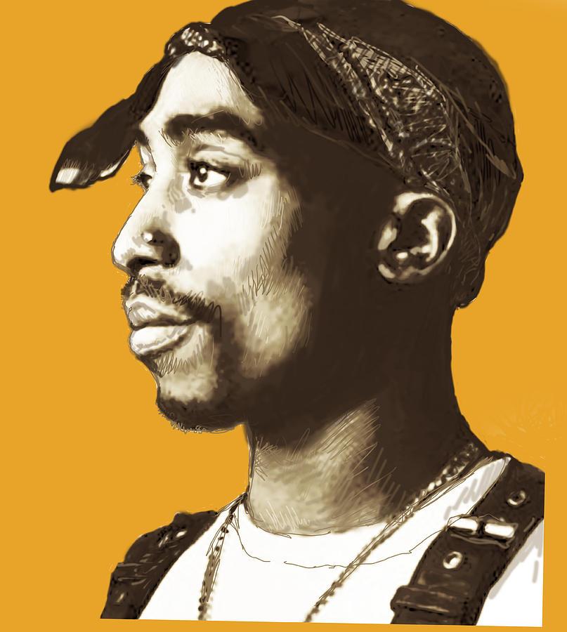 1996 Drawing - Tupac Shakur stylised pop art poster by Kim Wang