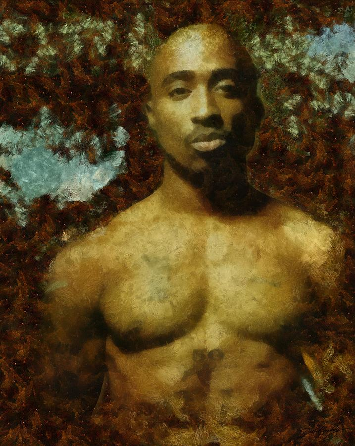 Sacred Painting - Tupac Shakur - Tribute by Derek Gedney