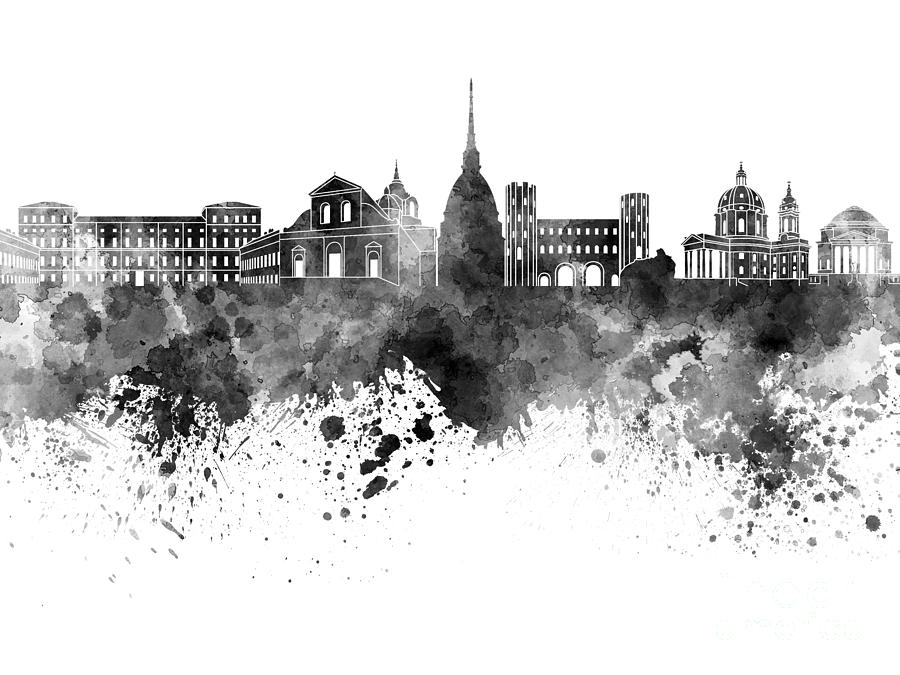Turin Skyline In Black Watercolor On White Background