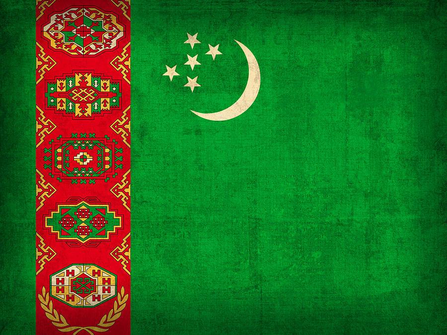 Turkmenistan Mixed Media - Turkmenistan Flag Vintage Distressed Finish by Design Turnpike