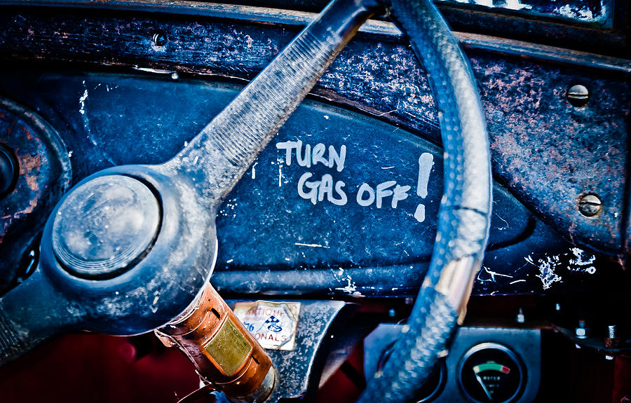 Steering Wheel Photograph - Turn Gas Off by Phil motography Clark
