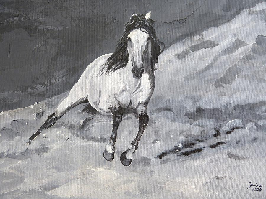 Andalusian Horse Painting - Turn Left by Janina  Suuronen