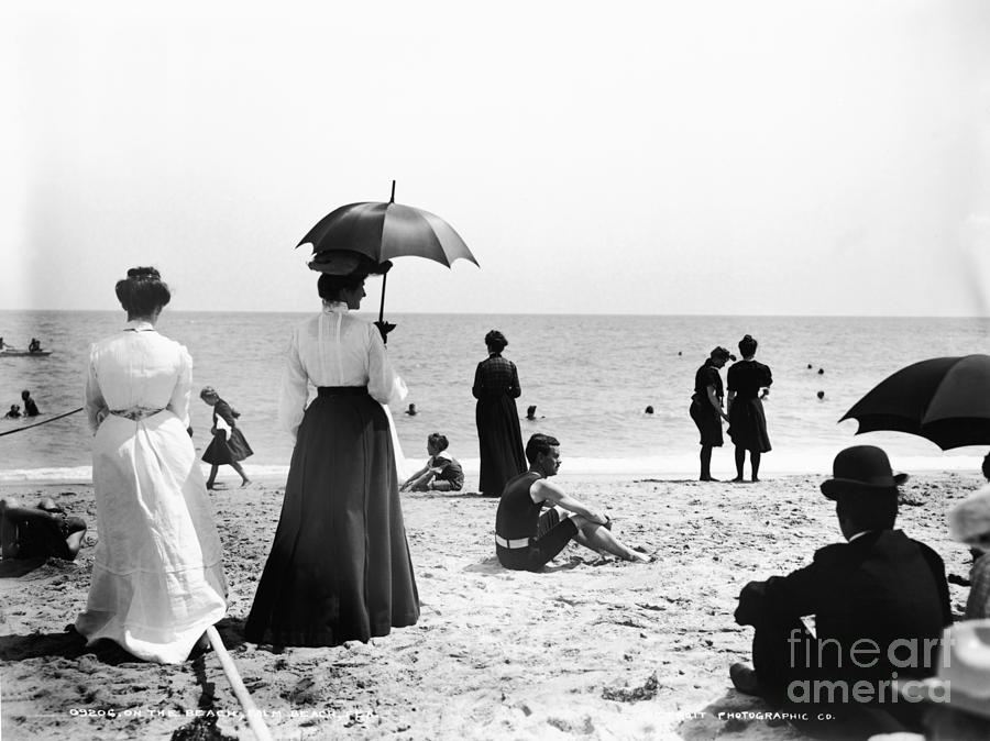 Black And White Photograph - Turn Of The Century Palm Beach by LOC Science Source