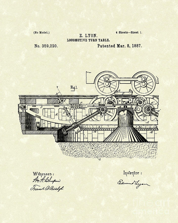 Lyon Drawing - Turn Table 1887 Patent Art by Prior Art Design