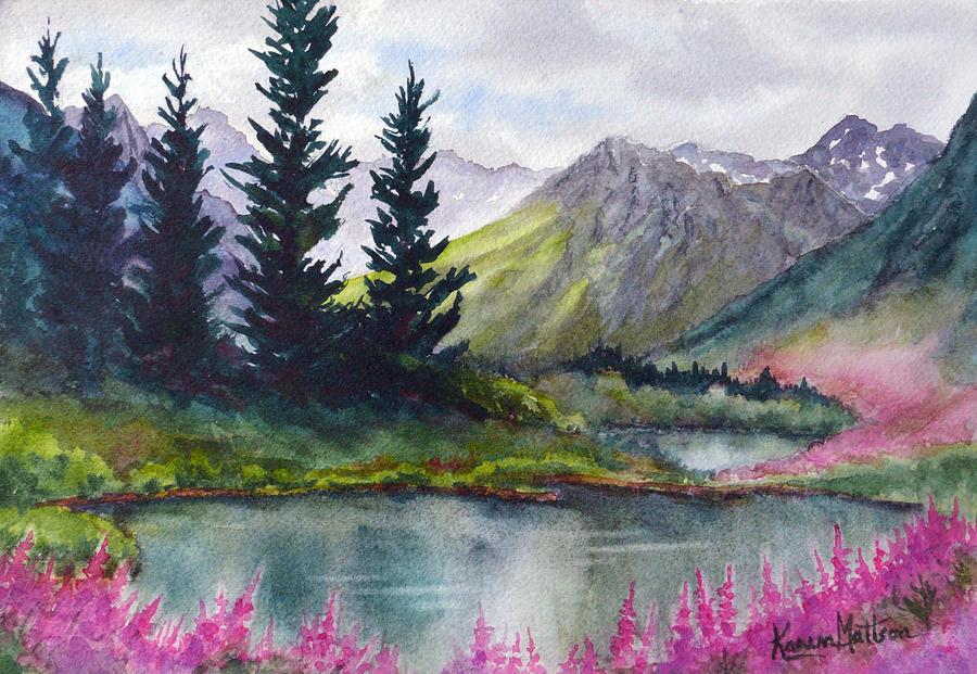 Turnagain Pass Painting - Turnagain Pass Fireweed by Karen Mattson