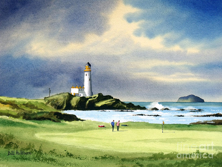 Turnberry Golf Course Painting - Turnberry Golf Course Scotland 10th Green by Bill Holkham