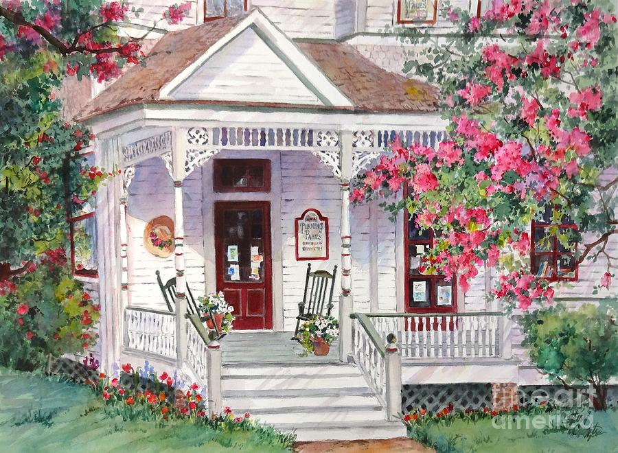 Turning Pages Bookstore Painting by Sherri Crabtree