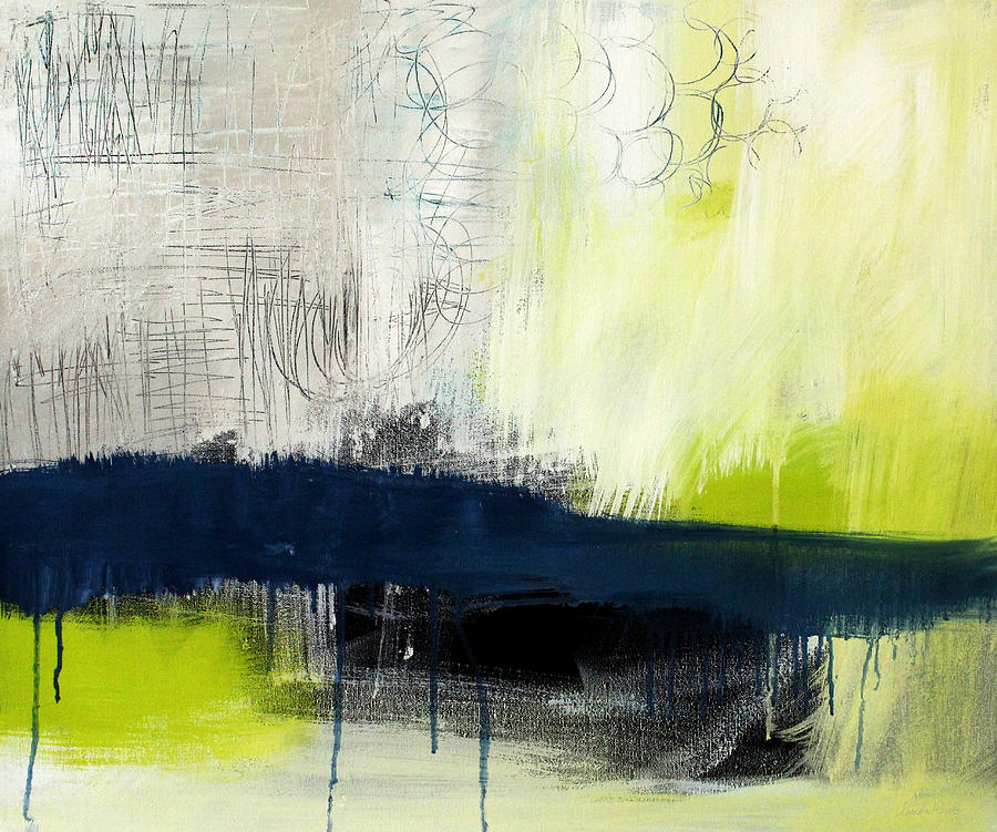 Blue And Green Abstract Painting - Turning Point - Contemporary Abstract Painting by Linda Woods
