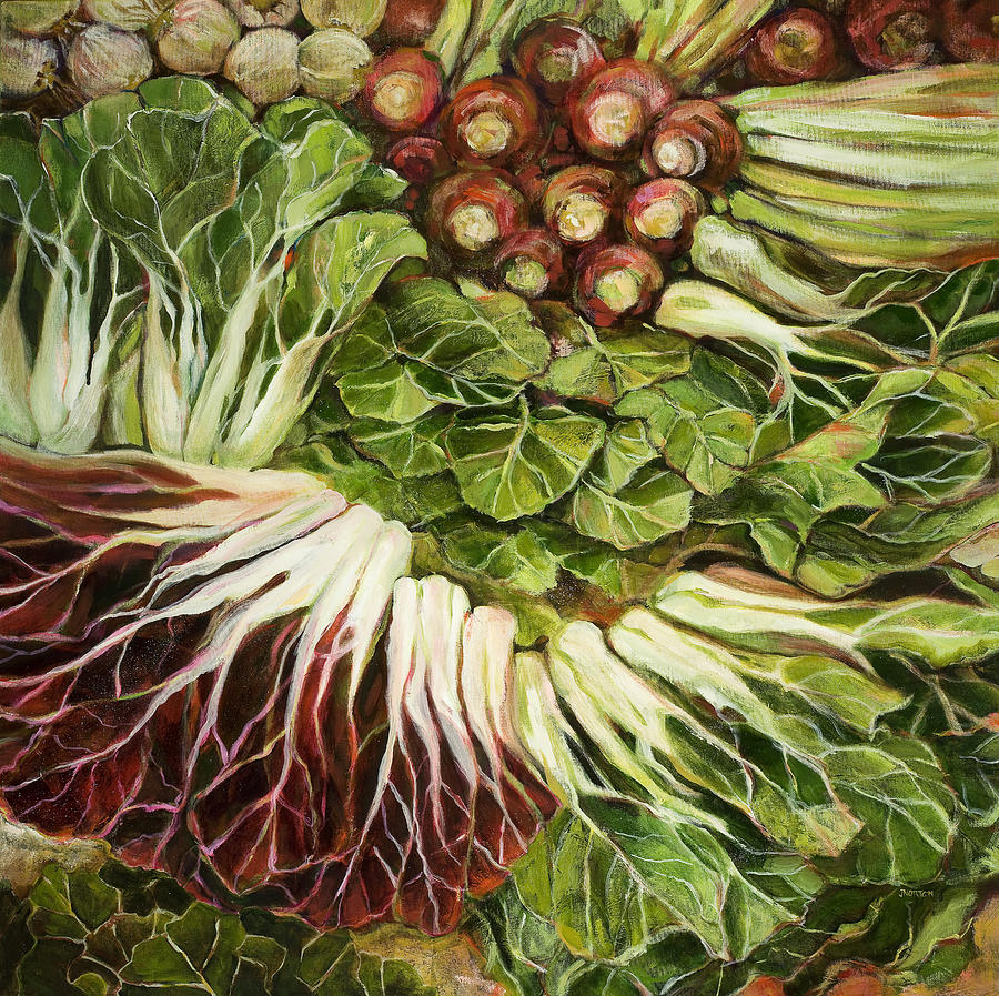Swiss Chard Painting - Turnip And Chard Concerto by Jen Norton