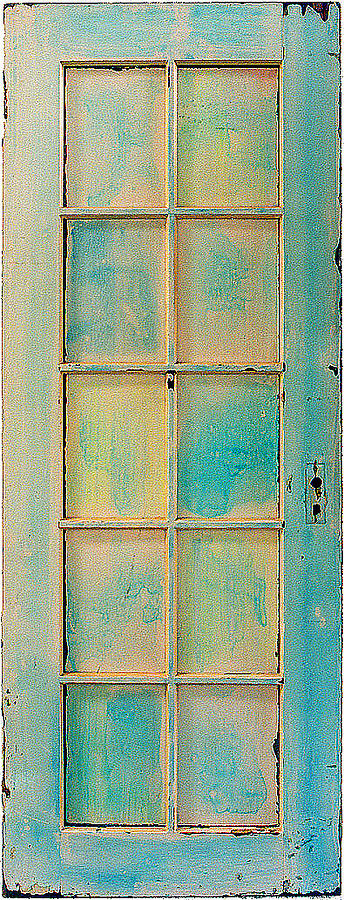 Doorway Sculpture - Turquoise And Pale Yellow Panel Door by Asha Carolyn Young