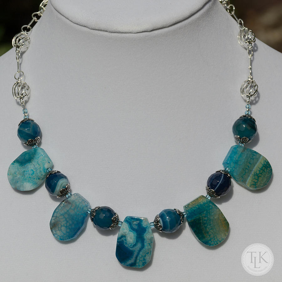 Tlk Jewelry - Turquoise And Sapphire Agate Necklace 3674 by Teresa Mucha