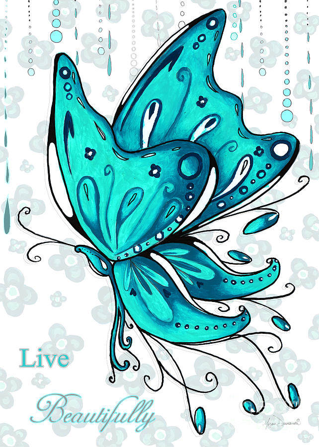 Turquoise Aqua Butterfly And Flowers Inspirational Painting Design